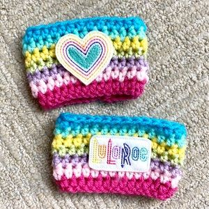 Hand Knit Cup Coozies - LuLaRoe Themed